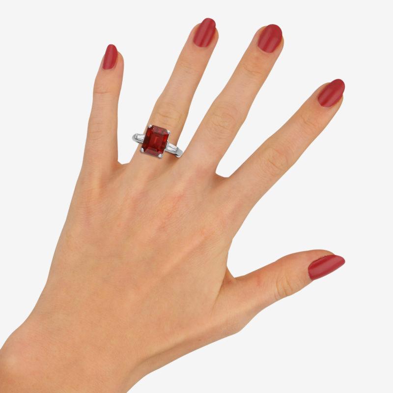 Almandine garnet and diamond ring