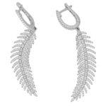 Articulated Feather Diamond Drop Earrings in White Gold