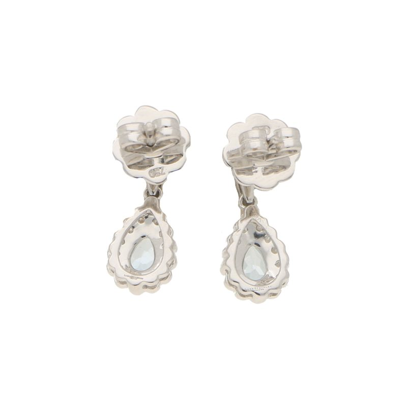 Aquamarine and diamond cluster earrings in 18k white gold.