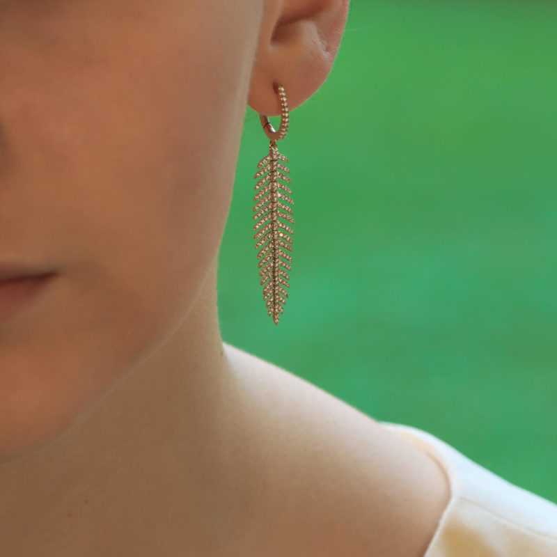 Articulated Feather Diamond Drop Earrings in Yellow Gold