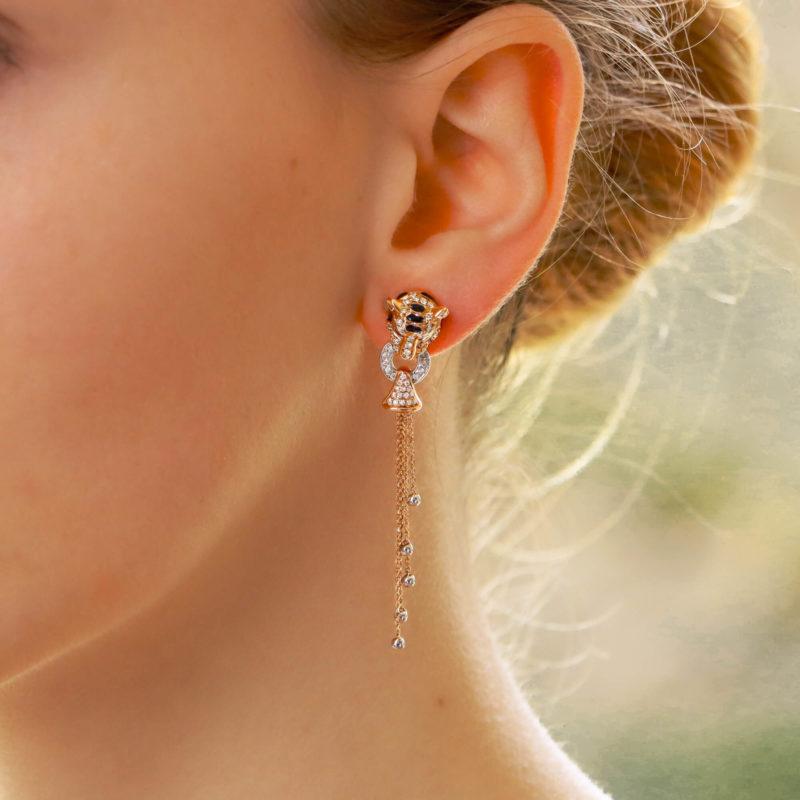 Diamond, Enamel and Ruby Tiger's Head Earrings in Rose Gold