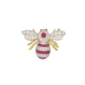 Ruby and Diamond Bee Brooch