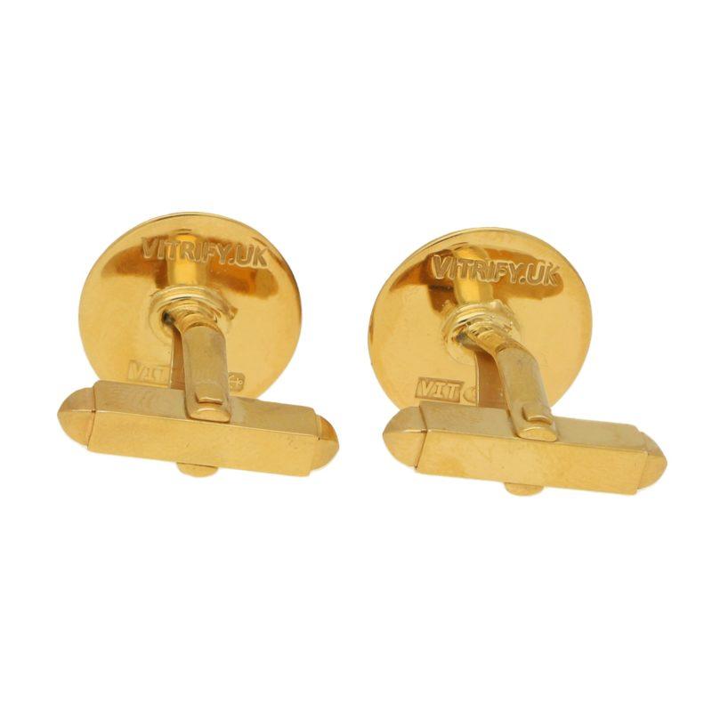 Pair of swivel back silver gilt and enamel cufflinks