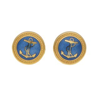 Pair of swivel back silver gilt and enamel cufflinks