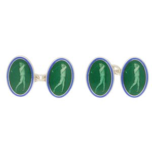 Men's green and blue enamel link cufflinks in sterling silver