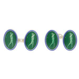 Men's green and blue enamel link cufflinks in sterling silver