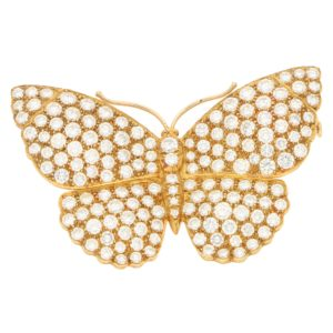 Asprey butterfly diamond brooch in 18k yellow gold, circa 1997.