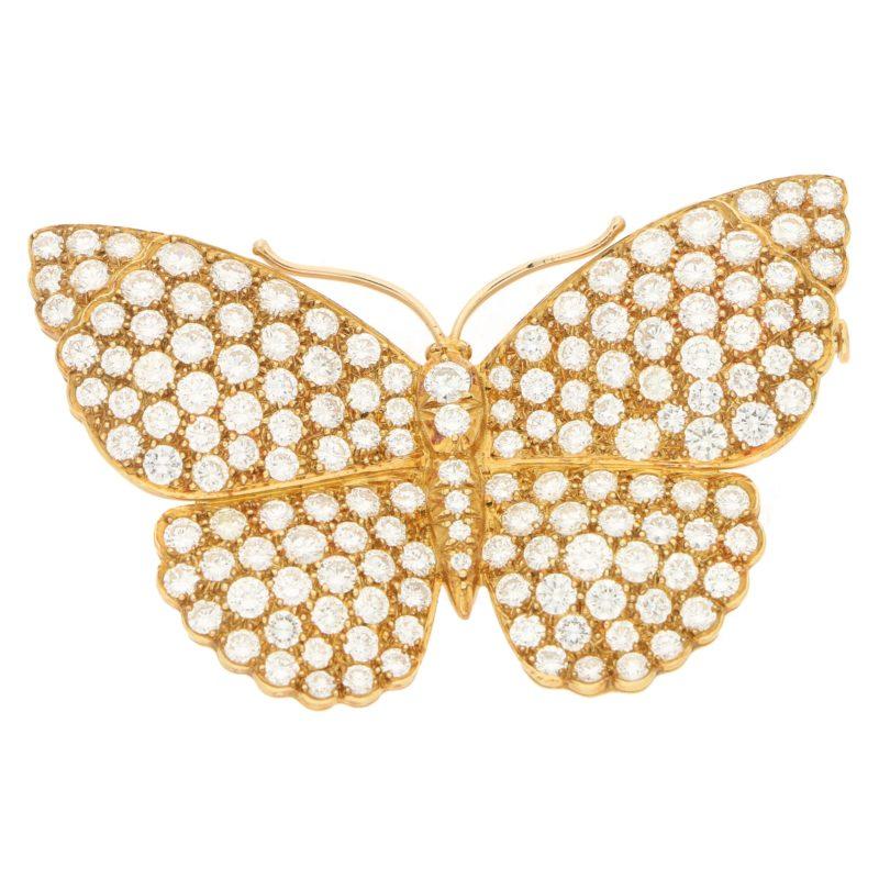 Asprey butterfly diamond brooch in 18k yellow gold, circa 1997.