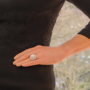 A Pearl and Diamond Ballerina Cluster