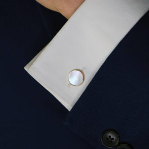 Mother of Pearl Round Chain Cufflinks in Gold