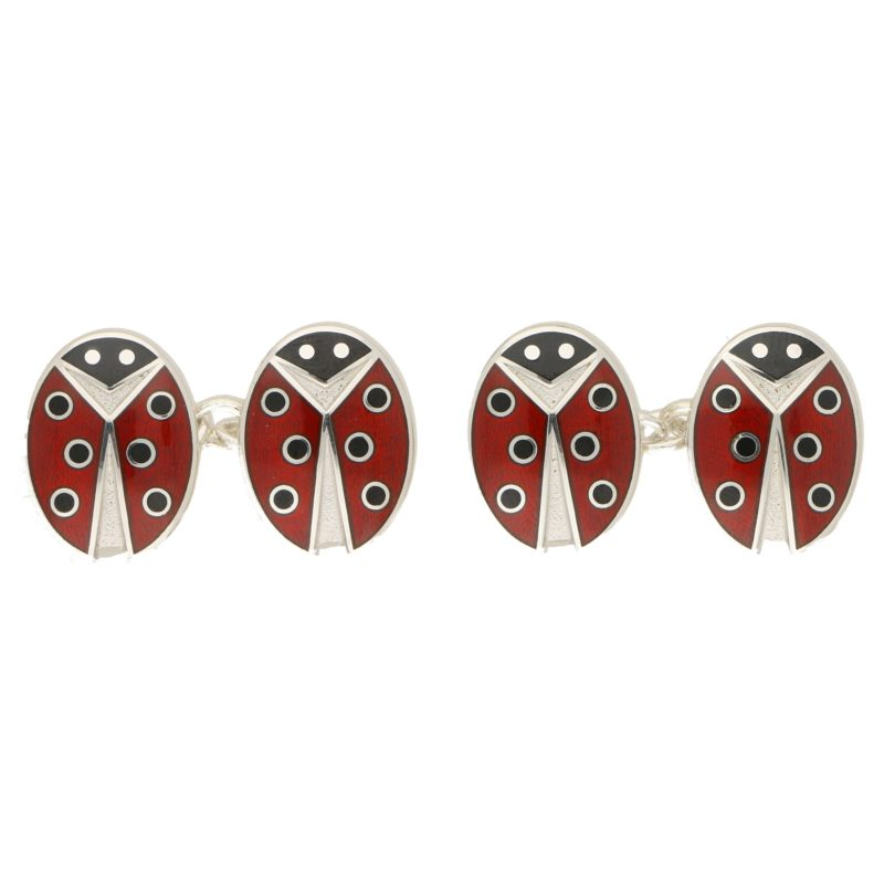 Men's ladybirds enamel link cufflinks sterling silver