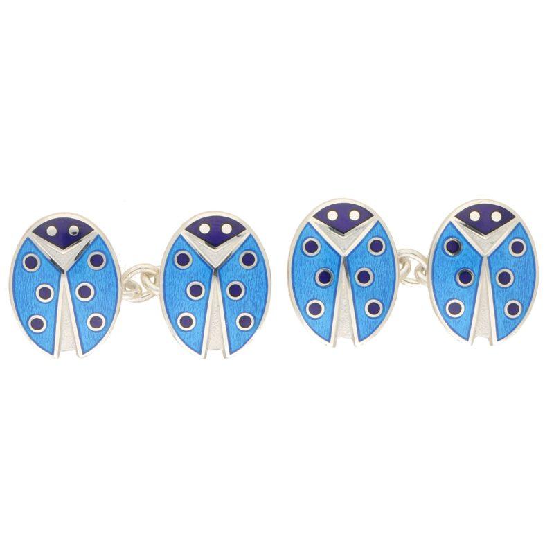 Men's ladybirds enamel link cufflinks in sterling silver