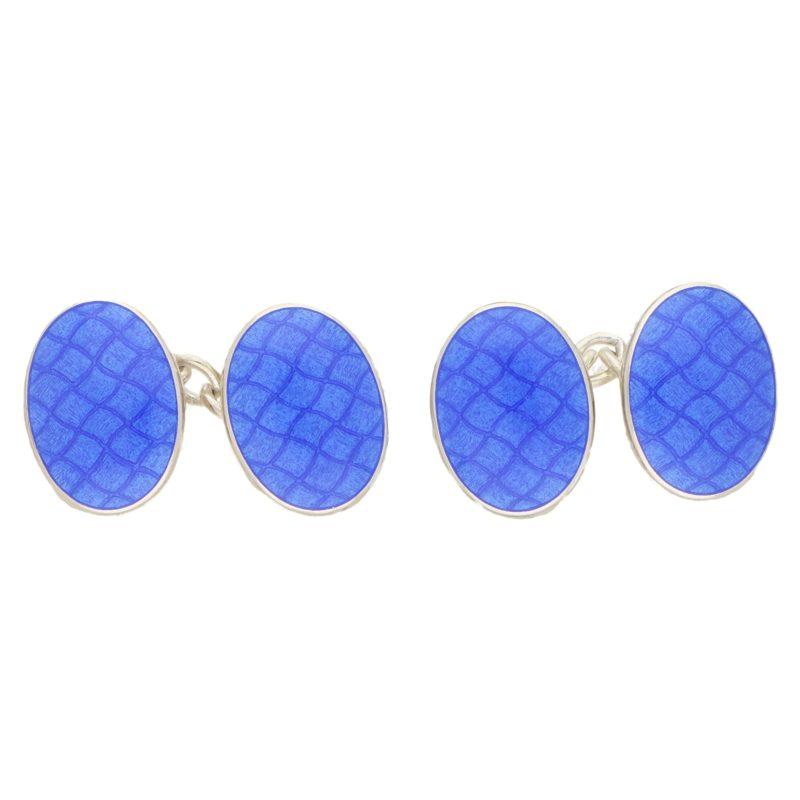 Blue Quilted Chain Cufflinks in Sterling Silver
