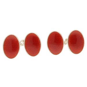 Red Peanut Chain Cufflinks in Sterling Silver