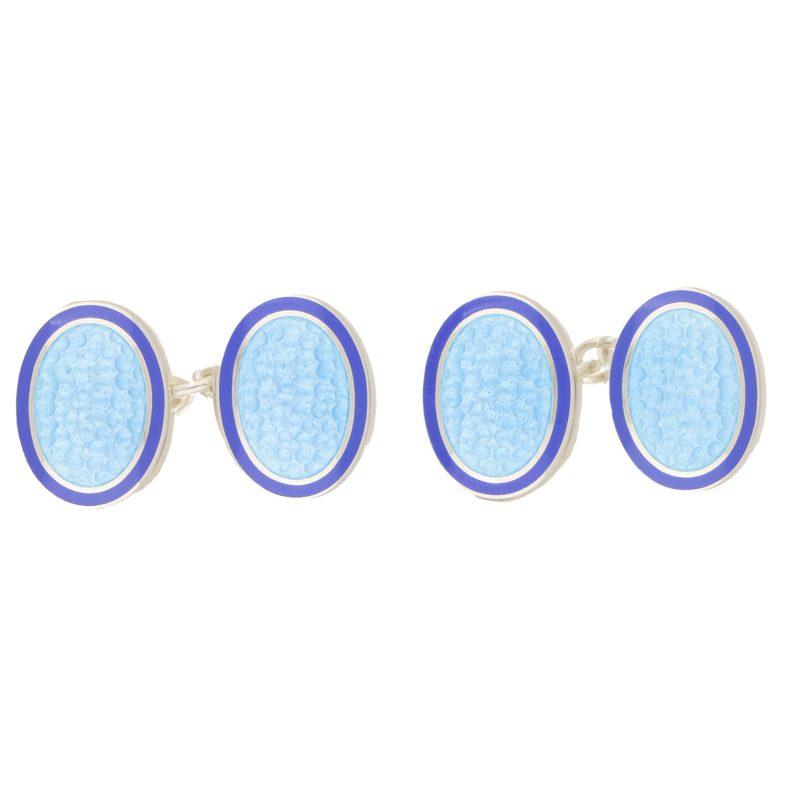 Sterling Silver light blue and dark blue enamel link cufflinks