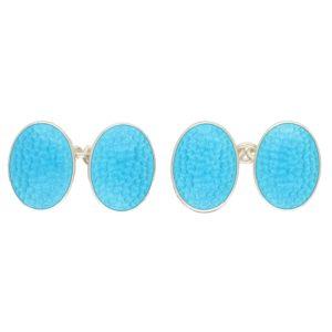Sterling silver turquoise enamel cufflinks