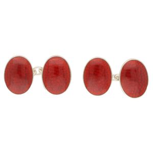 Red Crackled Enamel Chain Cufflinks in Sterling Silver