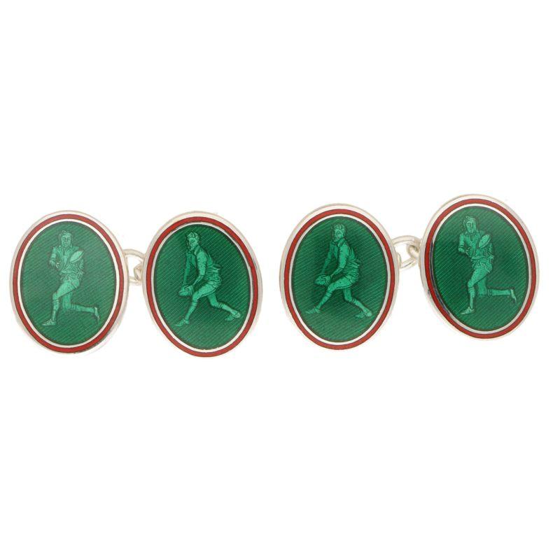 Men's green enamel chain link cufflinks in sterling silver