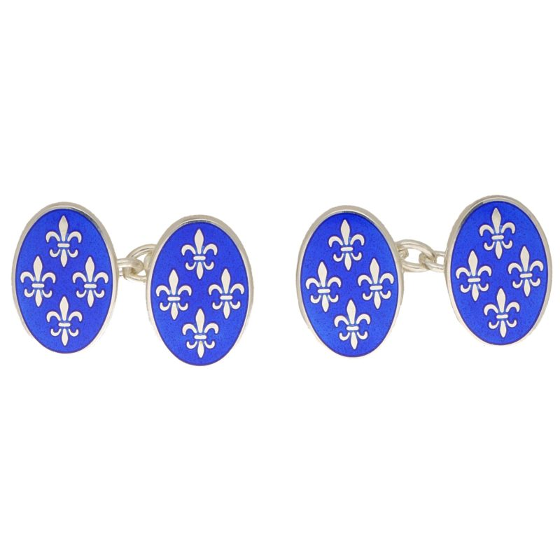 Sterling silver blue enamel link cufflinks