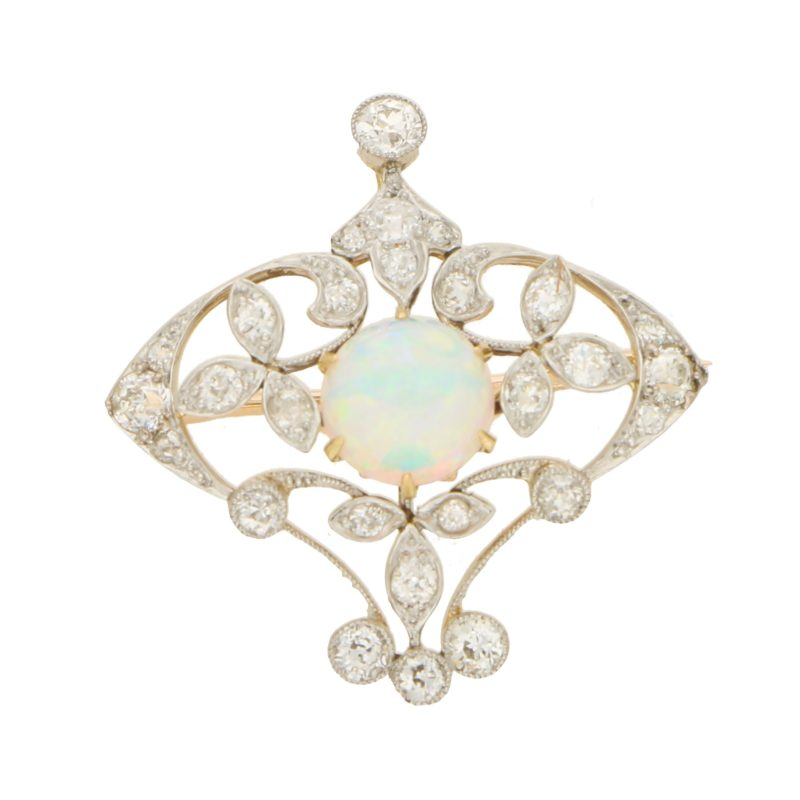 Edwardian Opal and Diamond Pendant/Brooch