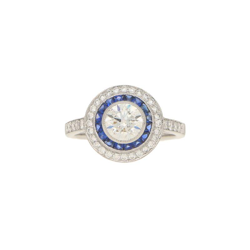 Sapphire & Diamond Double Halo Ring
