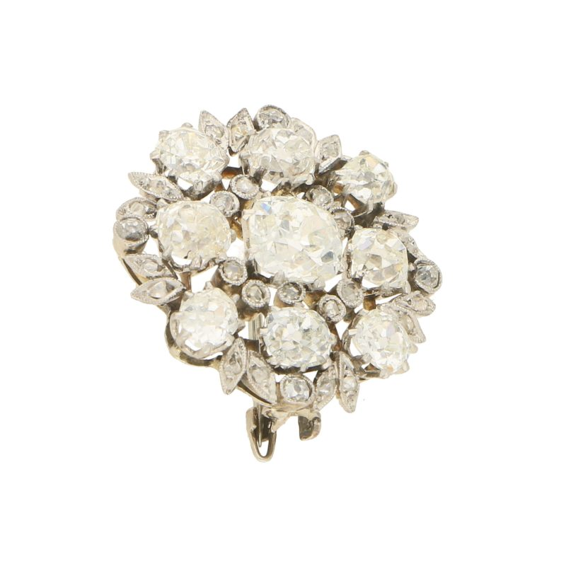 Edwardian old mine cut diamond brooch in platinum and white gold