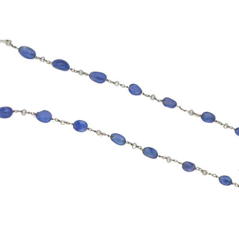 Sapphire & Seed Pearl Beaded Necklace