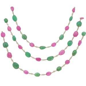 Ruby & Emerald Beaded Necklace