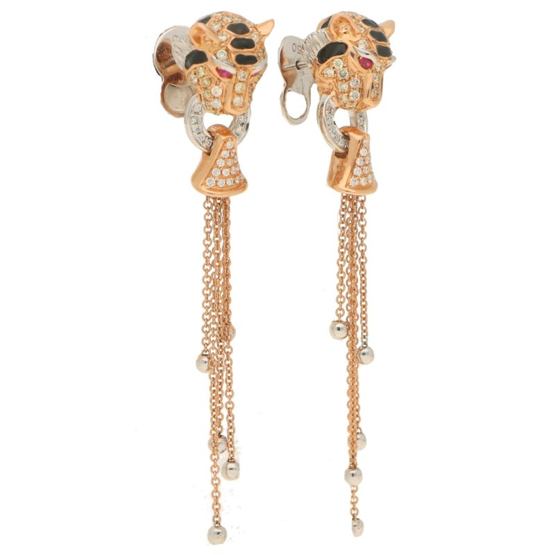 Diamond, Enamel and Ruby Tiger's Head Earrings in Rose Gold