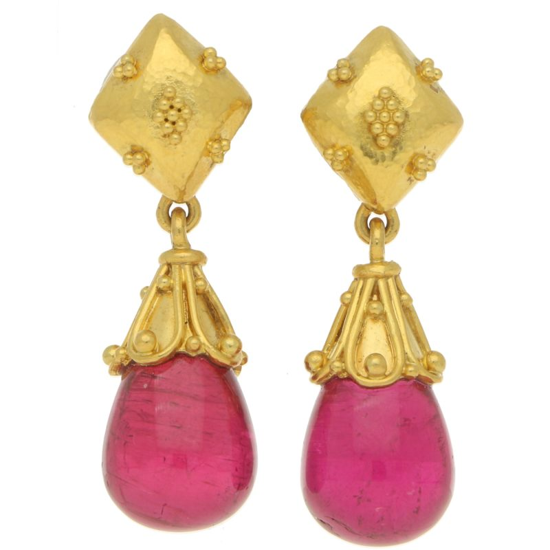 LALAoUNIS Pink Tourmaline Drop Earrings