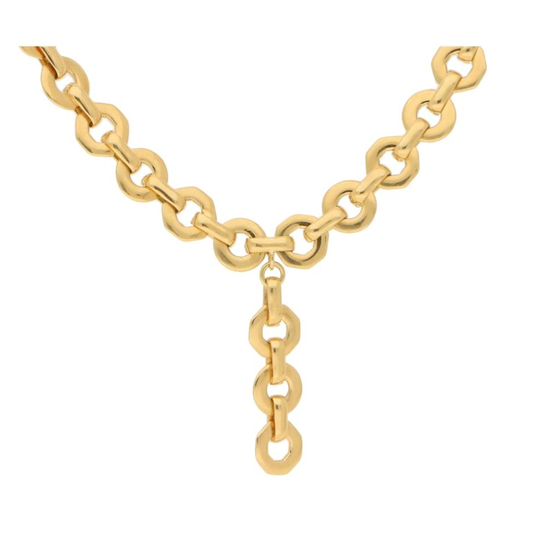 Vintage Fred Paris Fancy Rolo Link Necklace in Yellow Gold