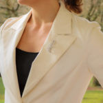 Diamond Set 18ct White Gold Feather & Ribbon Brooch