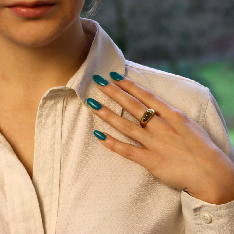 Tiffany & Co. Peridot Bombe Ring in Yellow Gold