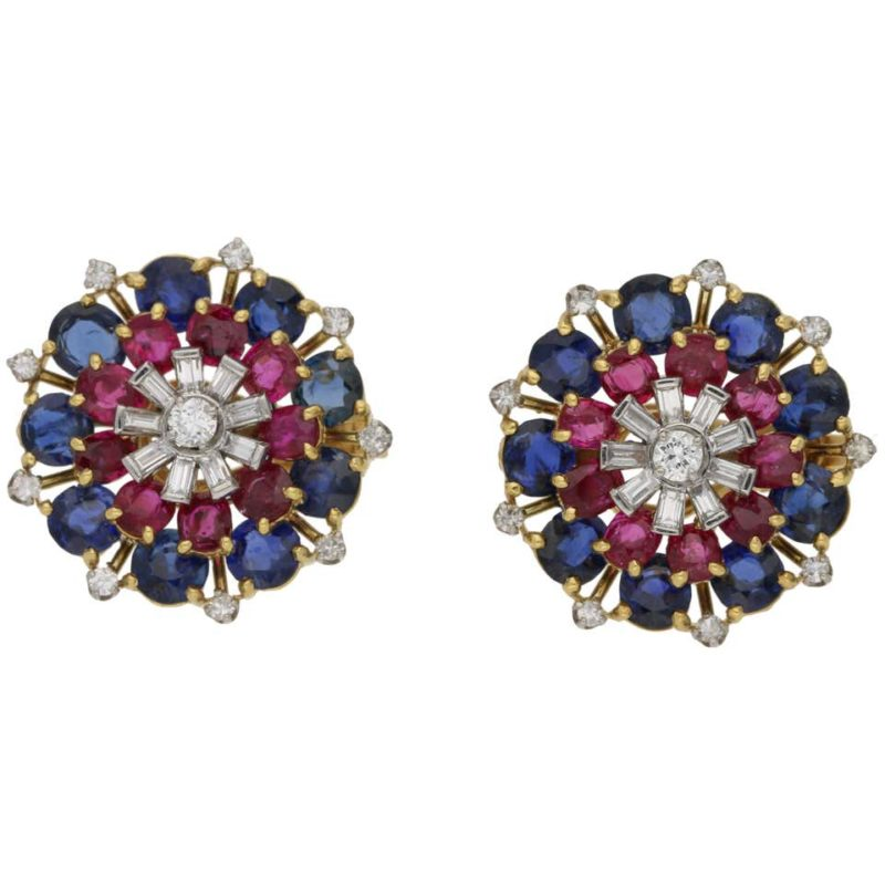 1960's ruby sapphire diamond cluster earrings