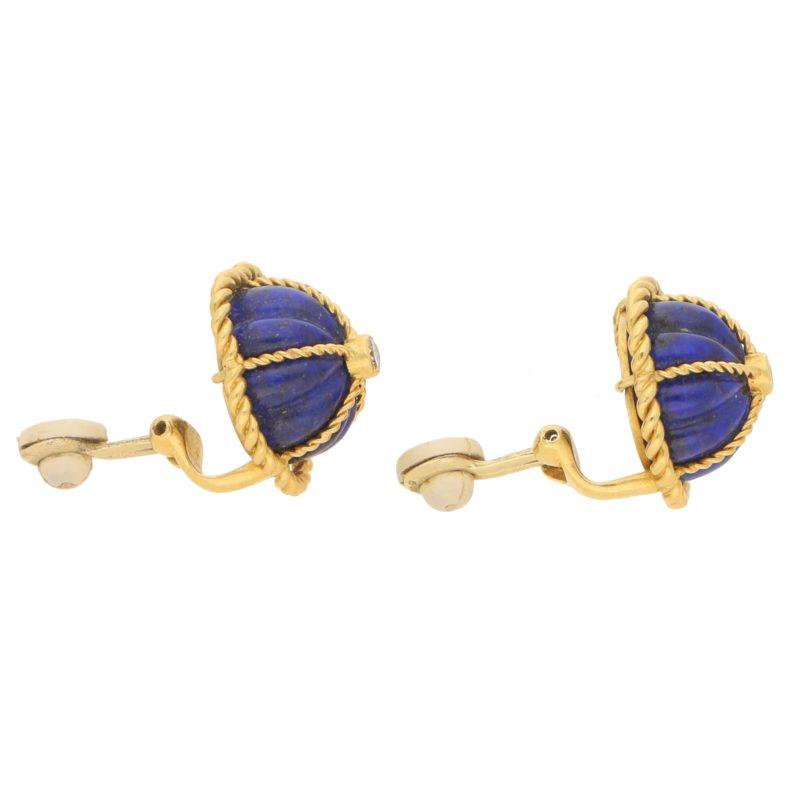 Lapis Lazuli Domed Clip Earrings