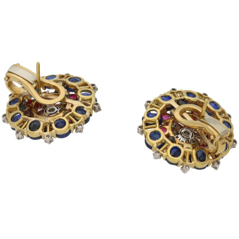 1960's ruby sapphire diamond cluster earrings
