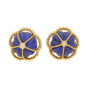 1970's Lapis Lazuli and Diamond Domed Clip On Earrings