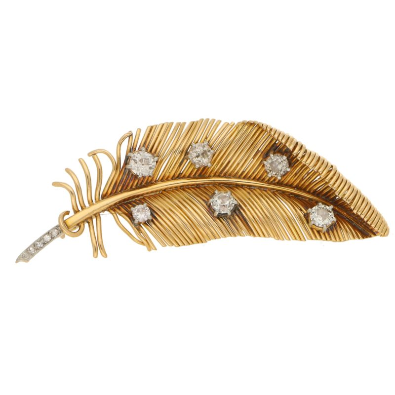 Vintage Diamond Feather Brooch