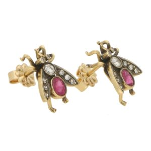 Diamond and Ruby Insect Earrings