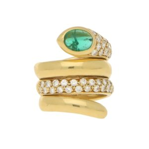 Emerald & Diamond Snake Ring in 18ct Yellow Gold