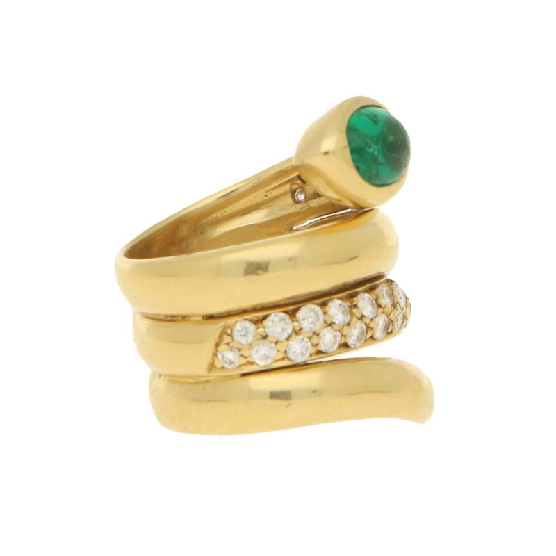 Emerald and Diamond Snake Ring in 18ct Yellow Gold