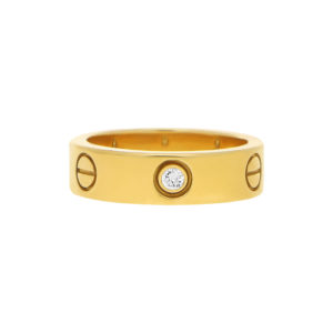 Yellow Gold Cartier Three Diamond Love Ring size 54