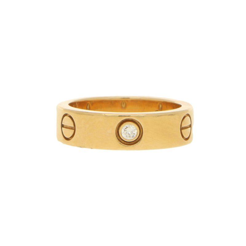 Yellow Gold Cartier Three Diamond Love Ring