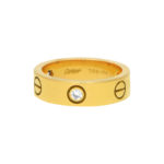 Yellow Gold Cartier Three Diamond Love Ring size 54