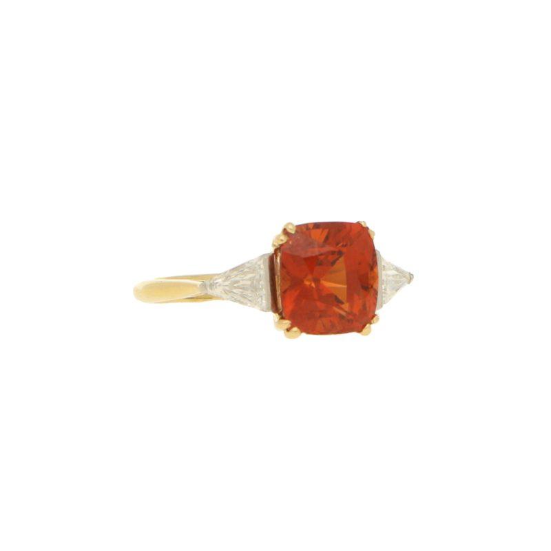 Spessarite Garnet and diamond ring