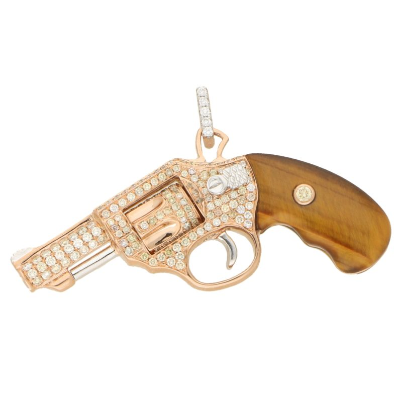 Diamond and Tigers Eye Jewelled Gun Pendant in Rose Gold