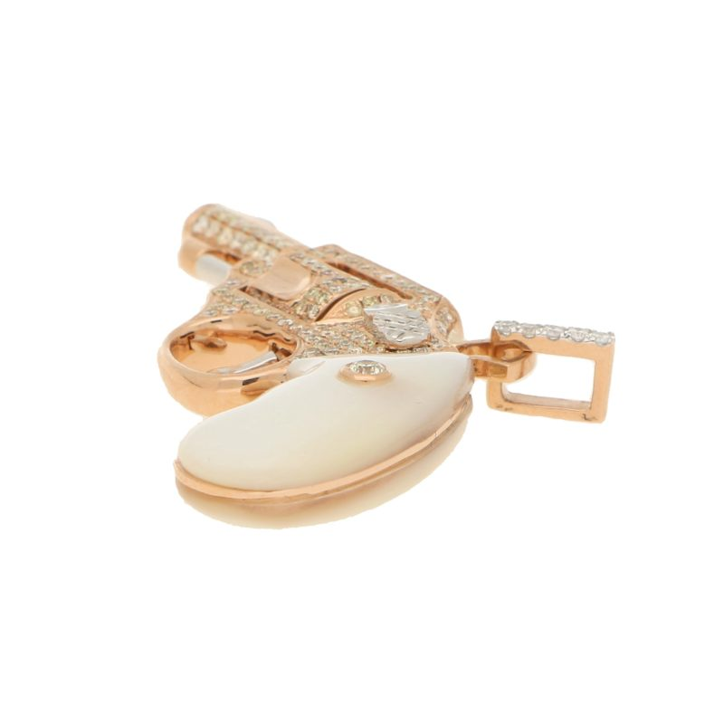 Diamond and Mother of Pearl Jewelled Gun Pendant in Rose Gold