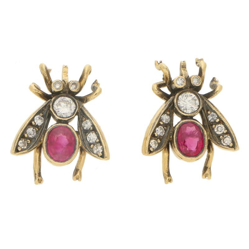 Diamond and Ruby Insect Bee Earrings in 18k Yellow Gold