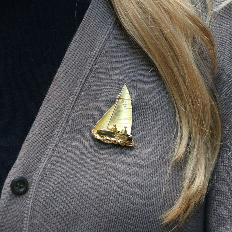 Yellow Gold Sailing Brooch
