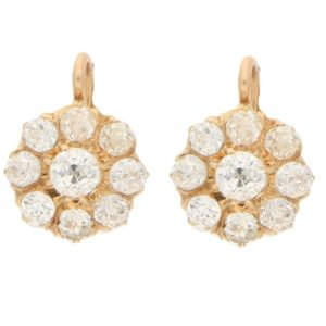 Victorian diamond coronet cluster earrings in yellow gold